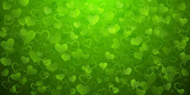 緑色の半透明の小さなハートの背景。バレンタインデーのイラスト