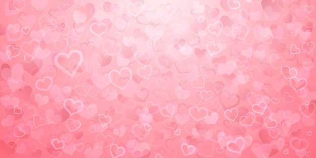 ピンク色の半透明の小さなハートの背景。バレンタインデーのイラスト