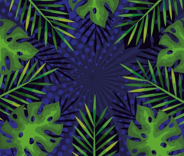 Фон из тропических ветвей и листьев