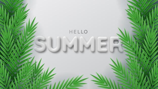 Фон из тропических растений и 3d белая летняя надпись. привет лето. Premium векторы