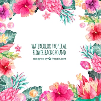 Background of tropical watercolor flowers