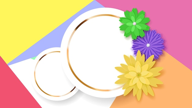 Фон из двух белых круговых рамок с золотыми полосами и цветными бумажными цветами