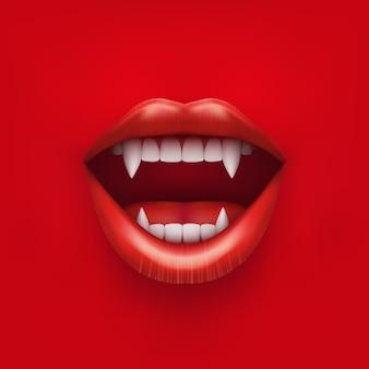 開いた赤い唇と長い歯を持つ吸血鬼の口の背景。図。白い背景で隔離。