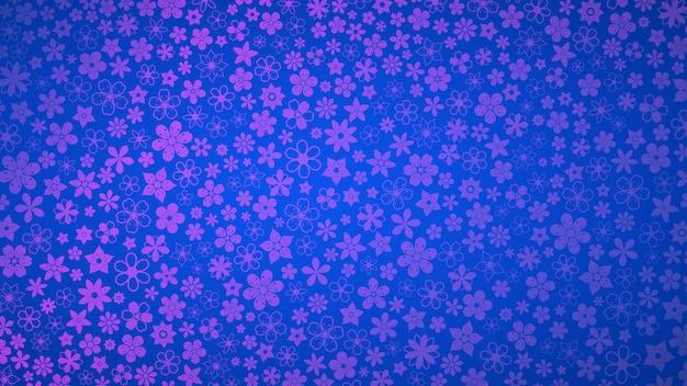 青と紫の色のさまざまな小さな花の背景