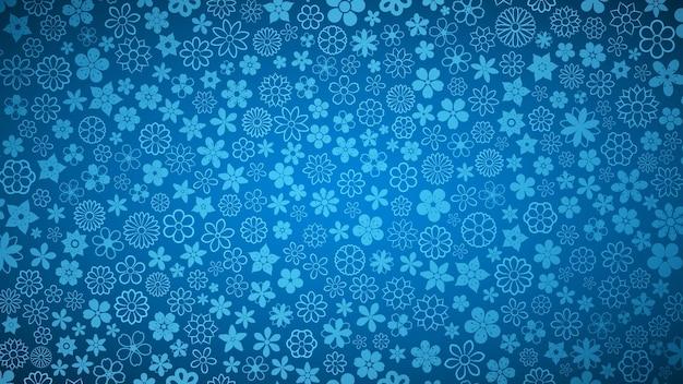 青い色の様々な小さな花の背景