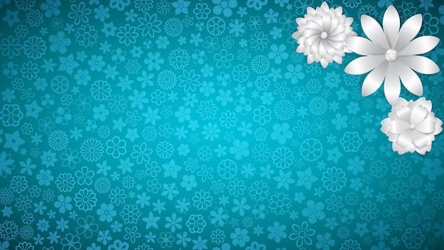 いくつかの大きな白い紙の花と水色のさまざまな小さな花の背景
