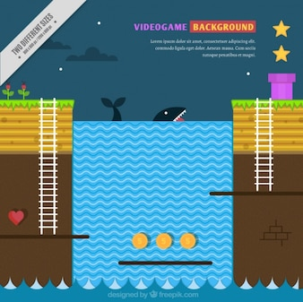 Background of video game with a whale