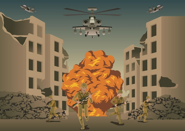 Фон войны в ситуации битвы между разрушенным городом, векторные иллюстрации