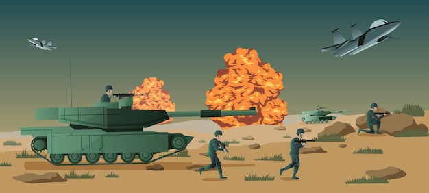 Фон войны в ситуации битвы, векторные иллюстрации