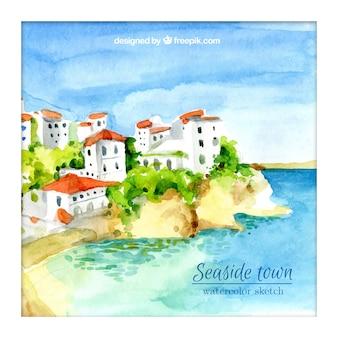 수채화 아름다운 해변 마을의 배경