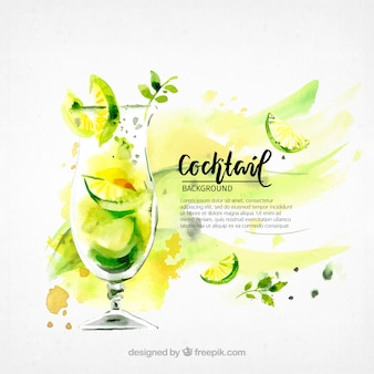 Background of watercolor cocktail refreshing