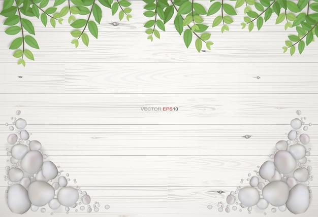 Фон из белого дерева с зелеными листьями и гравийным камнем. естественный абстрактный фон для дизайна шаблона. векторная иллюстрация.
