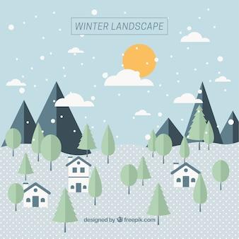 フラットなデザインの家や木が冬の風景の背景