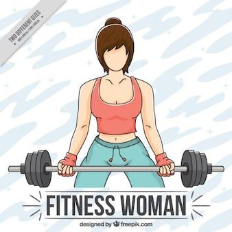 Фон женщина делает тяжелой атлетики
