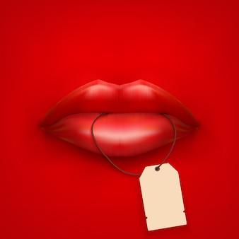 タグと唇を持つ女性の口の背景