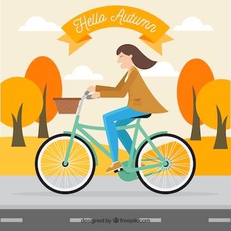 가 풍경에 자전거에 여자의 배경