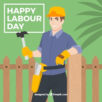 Background of worker leaning on a fence