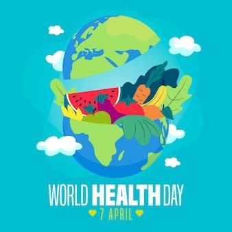 Фон всемирного дня здоровья плоский дизайн