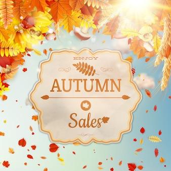 秋をテーマにした背景。セール。
