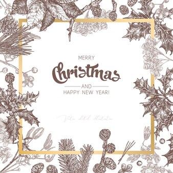 Фон или баннер из рождественских праздничных растений, ветвей пихты, лиственницы, ели, пуансеттии