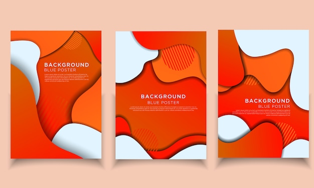 Background orange  papercut collection poster memphis modern template