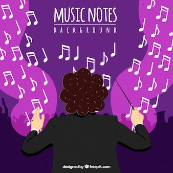 Background of orchestra conductor with musical notes