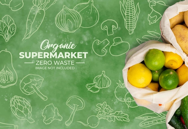 Background for organic supermarket with watercolor