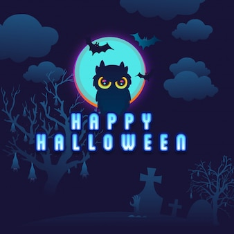 Background  owl in the middle of the night halloween
