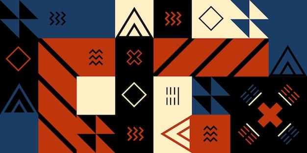 背景は立方体の形で描かれ、線やさまざまな色で装飾されています。シンプルなフォルム、レトロな波、濃い黒、赤のカラー。