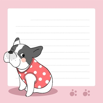 Background paper note with french bulldog