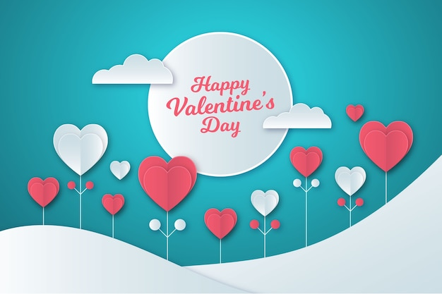 Background in paper style for valentine day