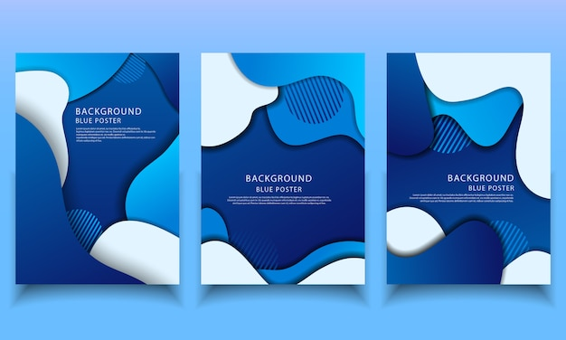 Background papercut blue template collection poster