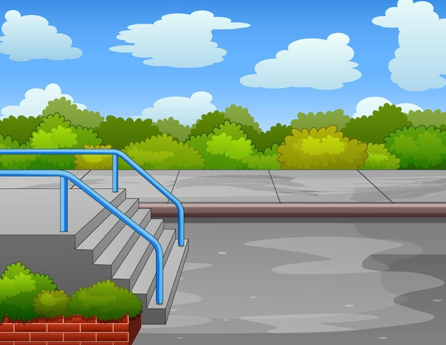 Background of park scene with stairs