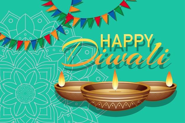 행복한 디왈리 축제의 배경 패턴