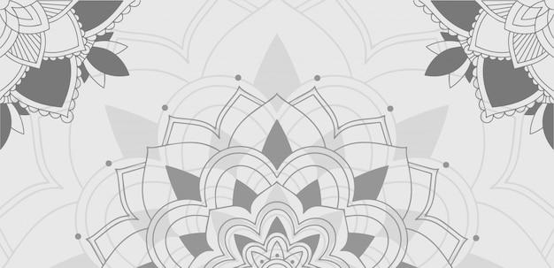灰色のマンダラの背景パターン