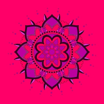 빨간색과 보라색 만다라의 배경 패턴