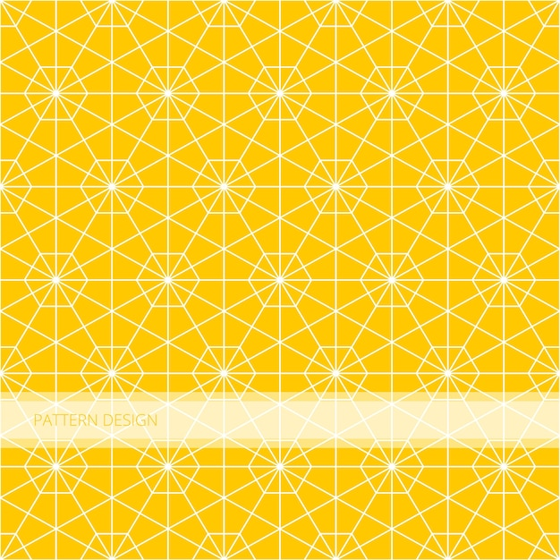 Background pattern seamless geometric yellow hexagon islamic abstract and white line vecto
