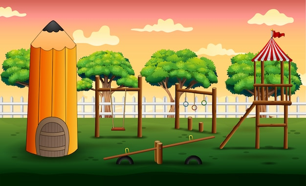 Background of pencil house with playground