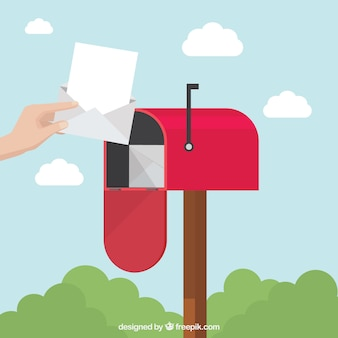 Background of person picking up letter of mailbox