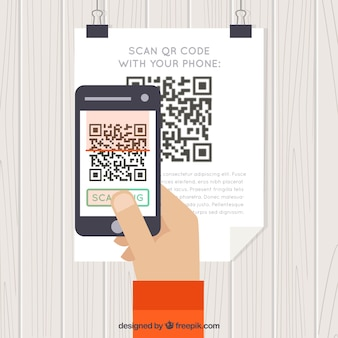 Background of person scanning qr code