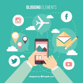 Sfondo di persona con elementi mobili e di blog in design piatto