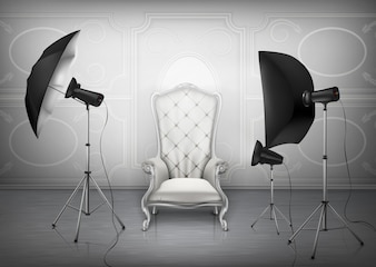 Background, photo studio with empty luxury armchair and wall with decorative ornament
