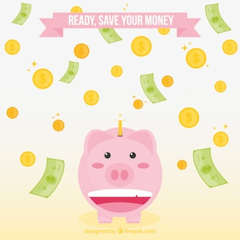 Background of piggy bank with bills and coins