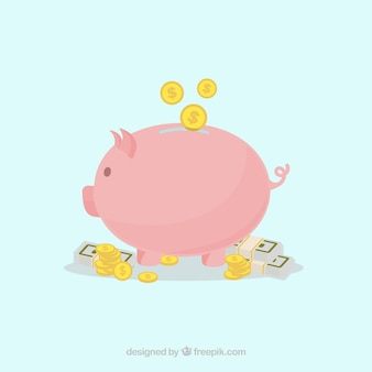 Background of piggy bank with coins and banknotes