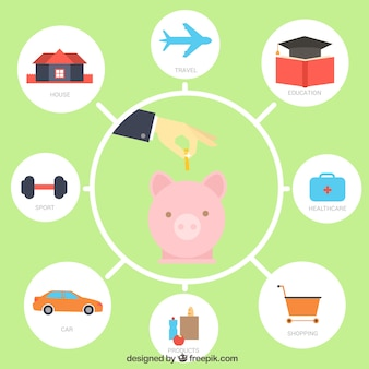 Background of piggy bank with elements of daily life