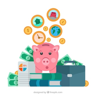 Background of piggy bank with other elements in flat design