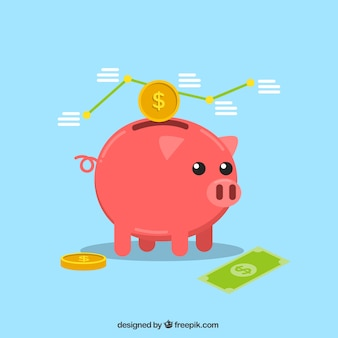Background of piggy bank with statistics