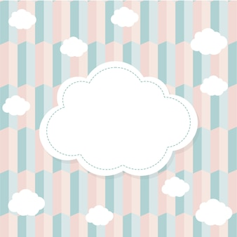 Background in pink and blue tones with a cloud frame