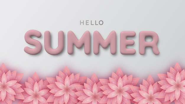Background of pink paper flower and 3d white summer inscription. hello summertime. realistic 3d illustration. the poster for sale and an advertizing sign.