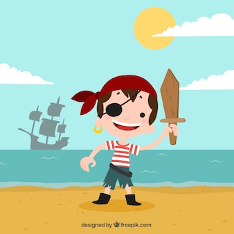 Background of pirate boy on the beach